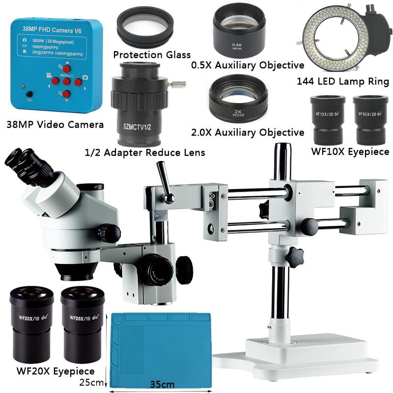3.5X-90X Simul-Focal Double Boom Stand Trinocular Stereo Zoom Microscope 38MP 2K HDMI Camera 144 LED Light Microscopio