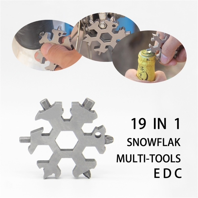 Hand tool sets outdoor multifunctional edc 6 angle snowflake wrench EDC mini Stainless Steel set