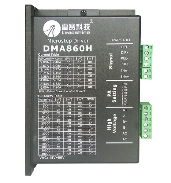 Stepper Motor Controller Leadshine DMA860H 2-phase Digital Stepper Motor Driver 36-75VAC 7.2A MA860