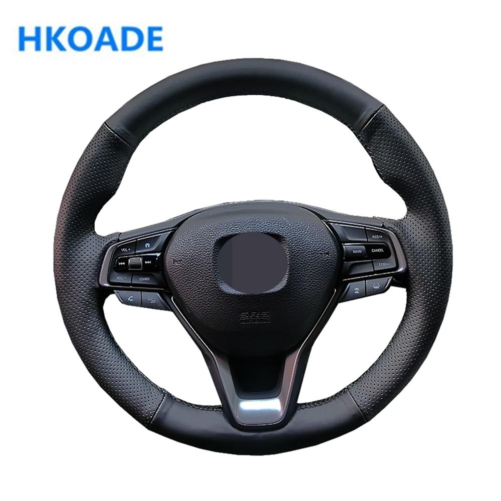 Housse de volant de voiture en cuir artificiel noir confortable, cousue à la main, pour Honda Accord 10, 2018, 2019 Insight 2019
