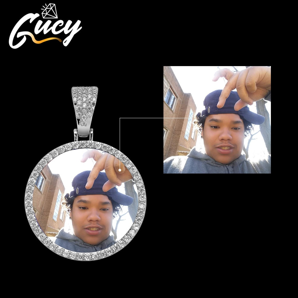 GUCY Fashion Custom Made Photo Roundness Solid Back Pendant & Necklace With Tennis Chain Cubic Zircon Men's Hip Hop Jewelry