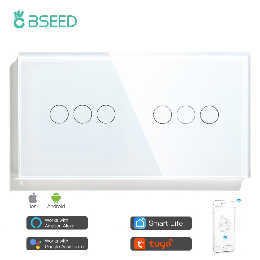 Bseed 6 Gang 1/2/3way Wifi Control Double Light Switch Touch Switch Wall Switch 3 Color Crystal Class Panel Fashion Smart Switch