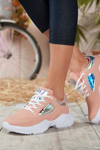 Powder white Women Sneaker sport hiking casual breathable field is lacing shoes girls summer spring