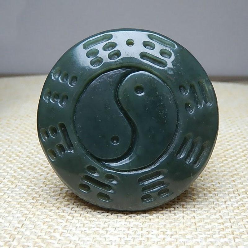 Colgante de Jade Natural Hetian Qingyu Taiji, colgante de ocho diagramas, joyería fina para hombres, colgante de collar de ocho diagramas Qingyu