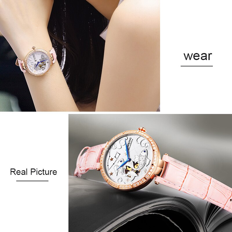 STARKING Women's Watch Brand Luxury Leather Pisces Constellation Ladies Crown Wristwatch Fashion Casual Simple Female Clock enlarge