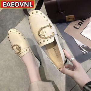 Women's Leather Shoes 2021 New Fashion Rivets Women's Single Shoes All - Match Flat Loafers Soft Leather Single Shoes