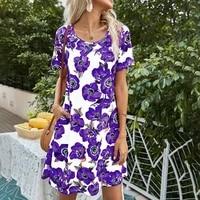 ladies pocket midi dress summer floral print o neck short sleeve streetwear women dresses casual loose streetwear beach dress
