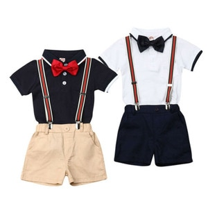 Summer Toddler Baby Boy 9M-5T Clothes Solid Color T-Shirt Tops Strap Short Pants 2Pcs Outfits Gentleman Formal Clothes Summer