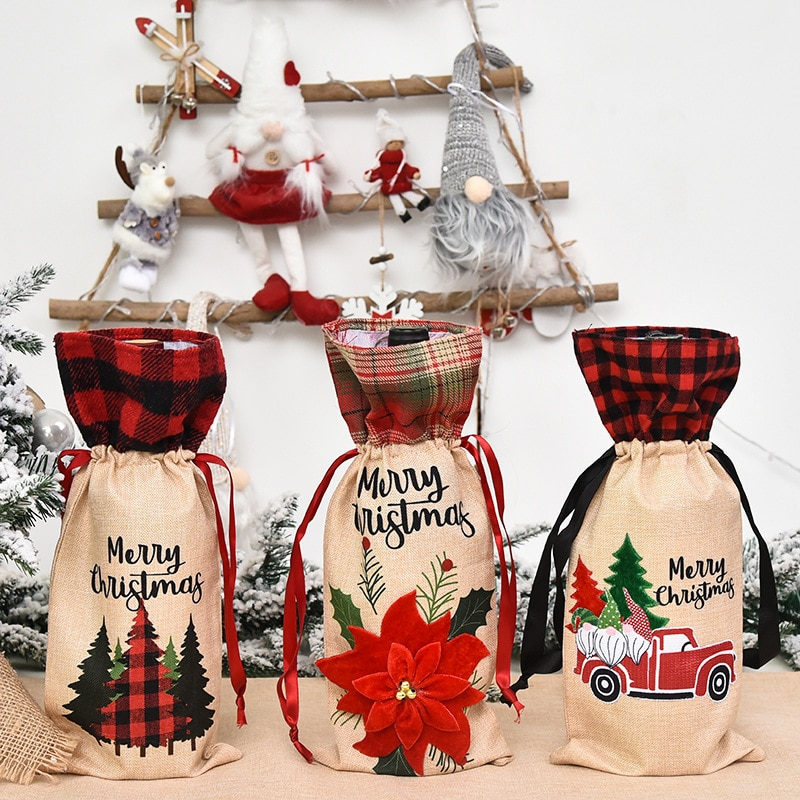 Christmas Supplies Burlap Wine Bottle Bag Wine Bottle Cover Plaid Burlap Holiday Family Atmosphere L