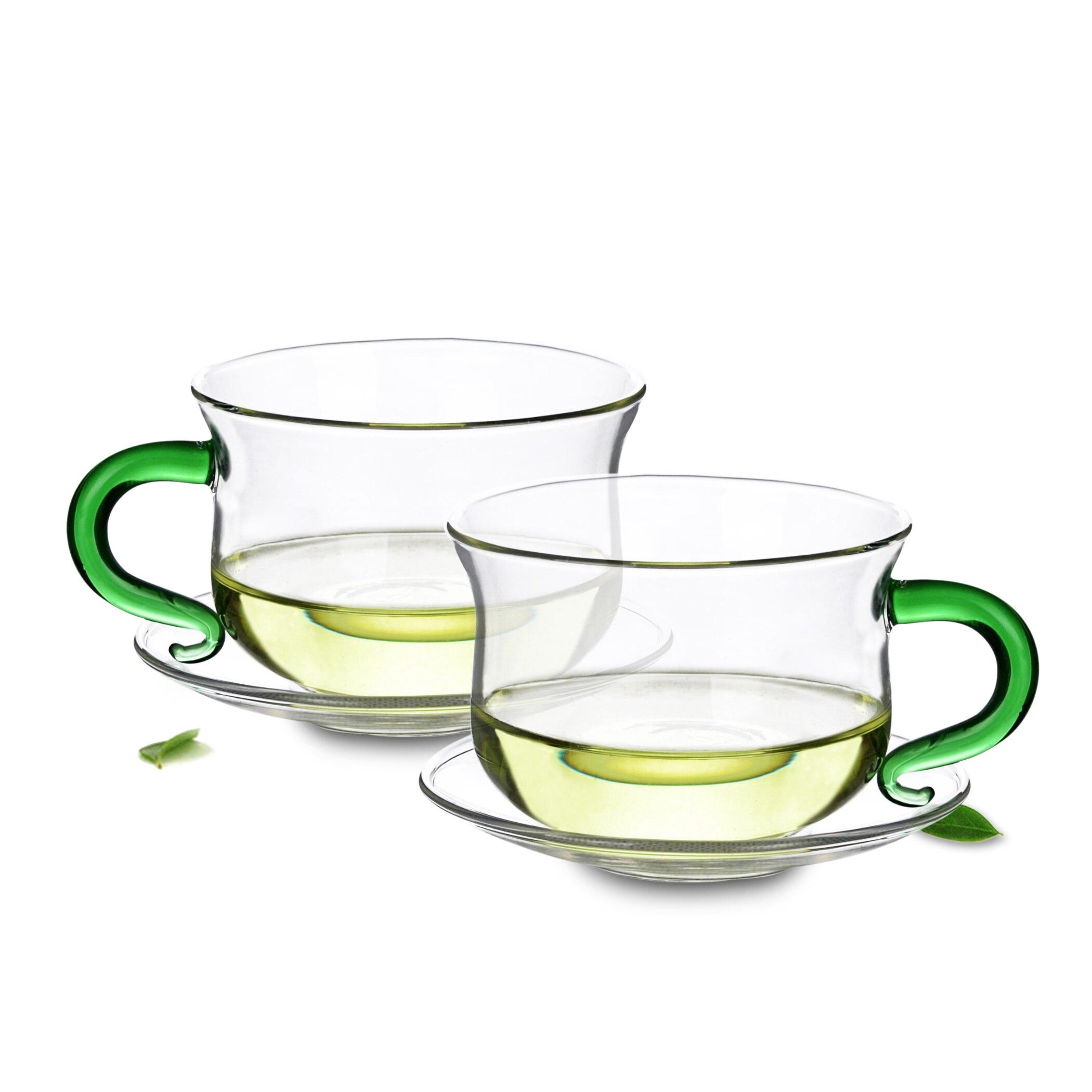 Lotes de té Set-1x 140ml Mango Verde resistente al calor taza de té de vidrio + 1x platillo 90mm
