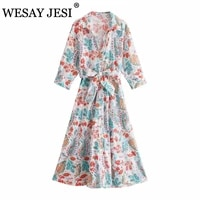 wesay jesi women summer dress traf za 2021 women floral print casual long dress female v neck long sleeve drawstring waist dress