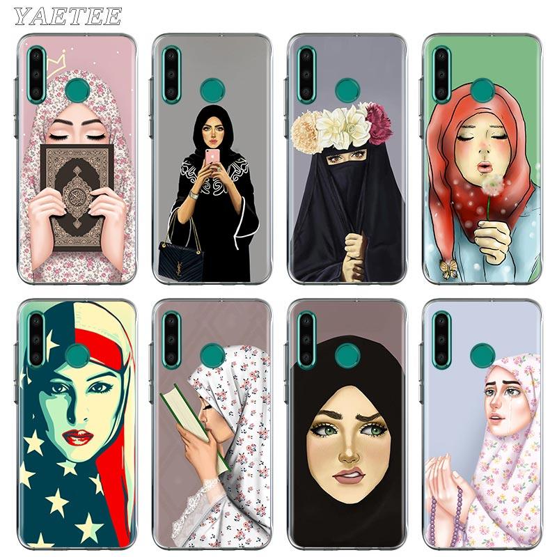 Muçulmano islâmico gril olhos árabe hijab menina caso de telefone para huawei honra 10 10i 20 lite 20 s 30 pro + 9a 9 s 9c 9x 8a prime 8x capa