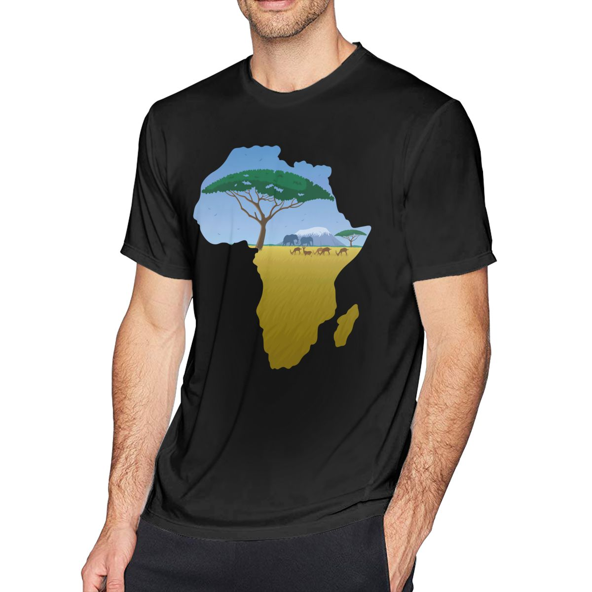 Camiseta Gazelle con mapa de África, camiseta de 2 Hombre estampado, camiseta de manga corta 4xl, camiseta de playa 100 de algodón
