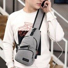 Homme USB charge multifonction sac hommes Messenger sac épaule Oxford tissu poitrine sacs bandoulière décontracté messenger sacs M323