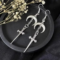 gothic silver color crescent moon and dagger earrings alternative goth earringspunk alt earringssword earrings gifts for her