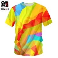 ogkb men tshirts new arrivals gothic print colorful geometric diamond 3d t shirt casual o neck tee shirts camisetas hombre