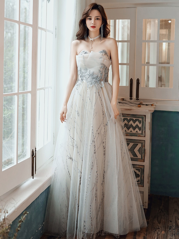 Evening Dress Female 2020 New Fashion Sexy Off the Shoulder a Line Elegant Queen Banquet Party Dress