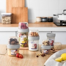 Kitchen Storage Organizer Cereal Container Rice Cereal Grain Bean Container & Measuring Cup Sealed Box Silicone Ring Sealed Tank