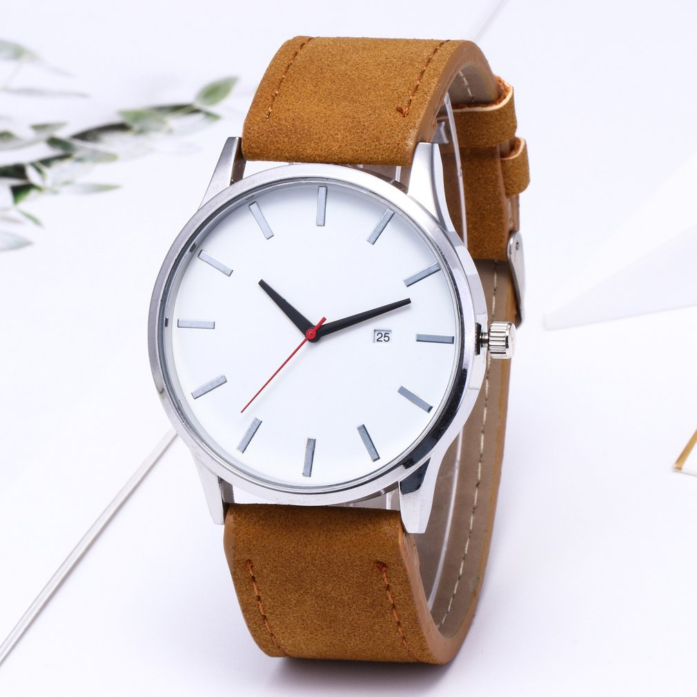 Men Women Round Dial Casual Elegant Mans Wristwatches Fashionable Band Fashion Grid Scale Male Watch
