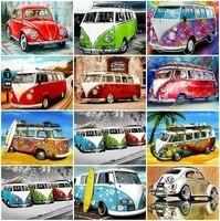 Tapb belle voiture Bus peinture a lhuile par numeros Art photo peinture acrylique dessin sur toile pour Couple peint a la main decor a la maison