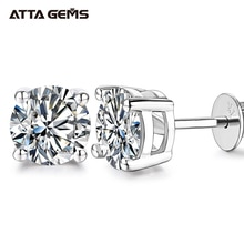 ATTAGEMS 0.5-1 Carat D Color Moissanite Stud Earrings For Women Top Quality 100% 925 Sterling Silver