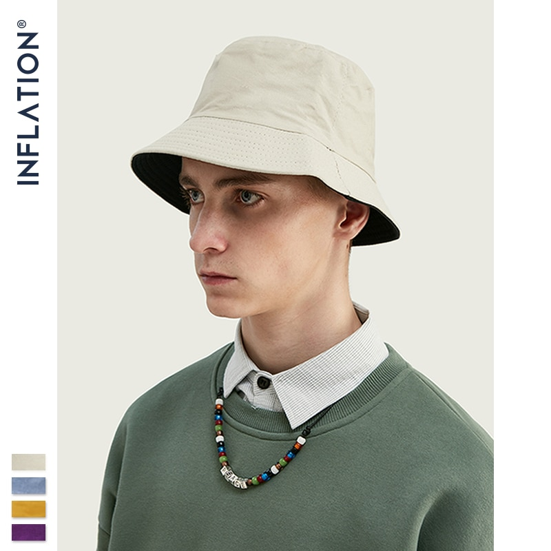 INFLATION 2020 Mens Cotton Summer Bucket Hats Fisherman Bucket Hat Men Hip Hop Japanese-style Couples Bucket Hats 154CI2019