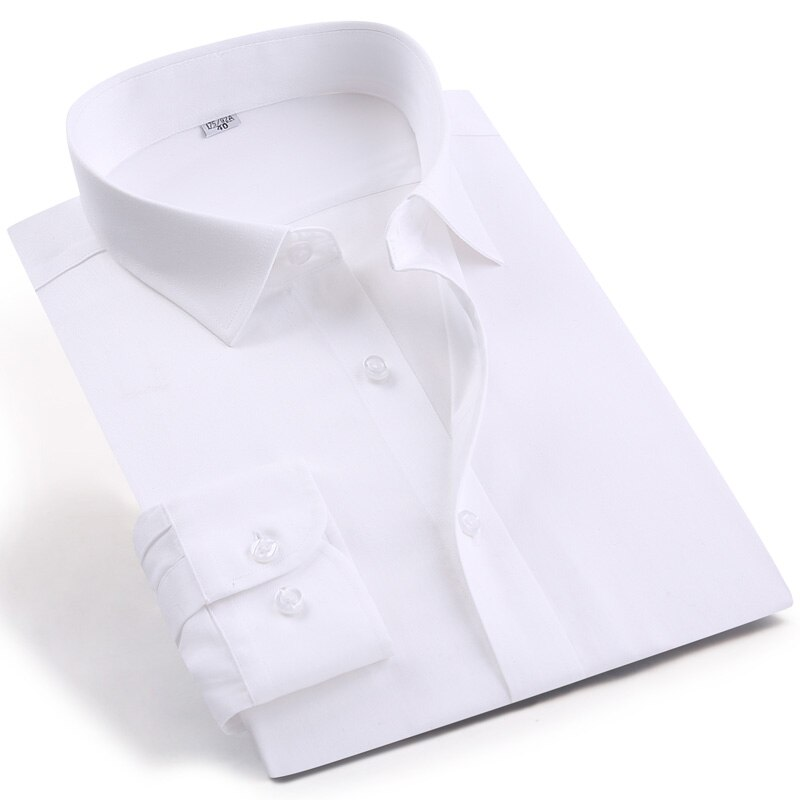 قميص رجالي من القطن الفاخر بأكمام طويلة قمصان سهرة رجالي للزفاف بأزرار علوية لون أبيض ملابس رسمية للغسيل وارتداء