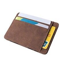 Nouvellement hommes portefeuille petite taille bande magique couleur unie porte-carte porte-monnaie FIF66