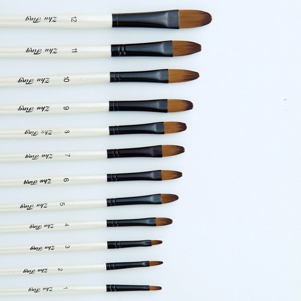 12 Artist Water-color Painting Brushes Brush Oil Acrylic Flat Tip Paint Kit for Acrylic Gouache Painting Examinations