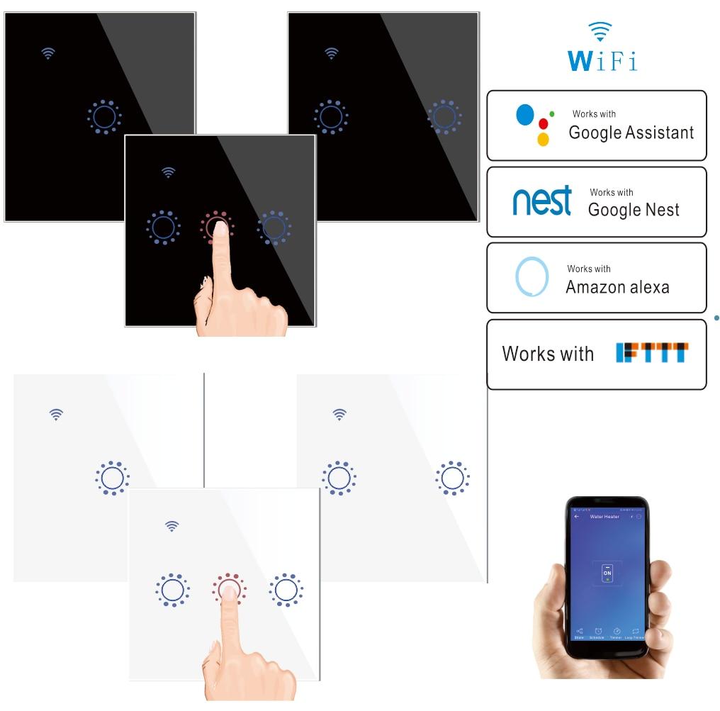 Wifi Smart Light Switch Tuya Ewelink App Touch Panel Wireless Wall Switch work with IFTTT Alexa Echo Google Home Voice Control