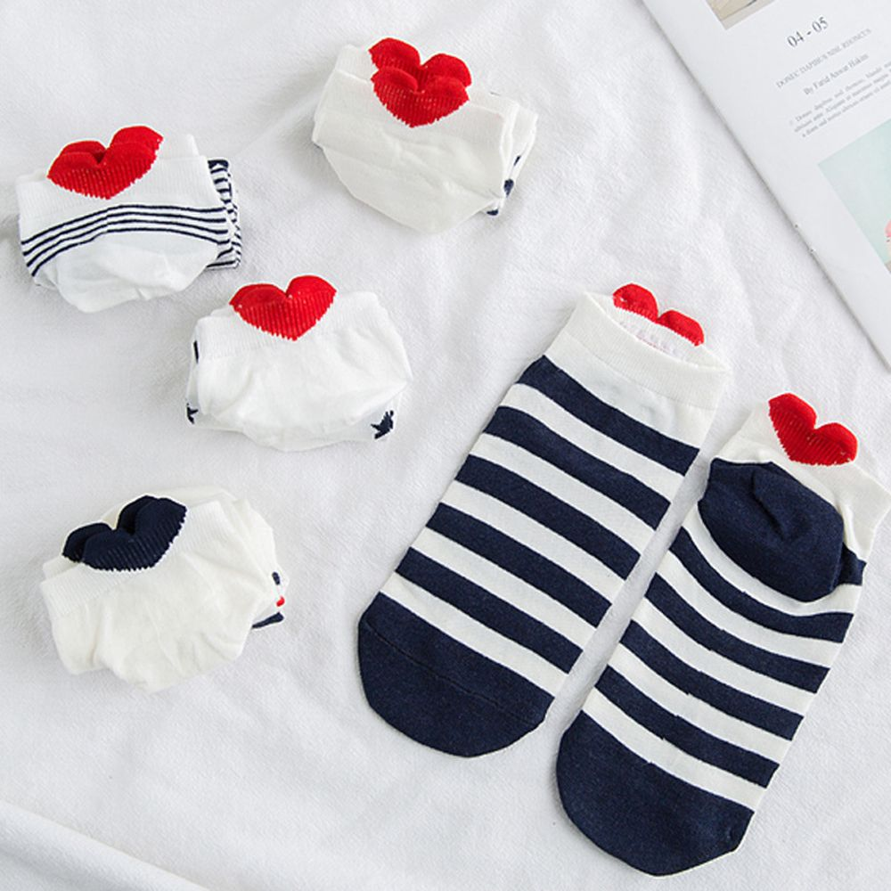 5Pairs Women Cotton Socks Pink Cute Kawaii Ankle Socks Short Women Socks Casual Red Heart Lover Socks Sox Hosiery Hot Sale