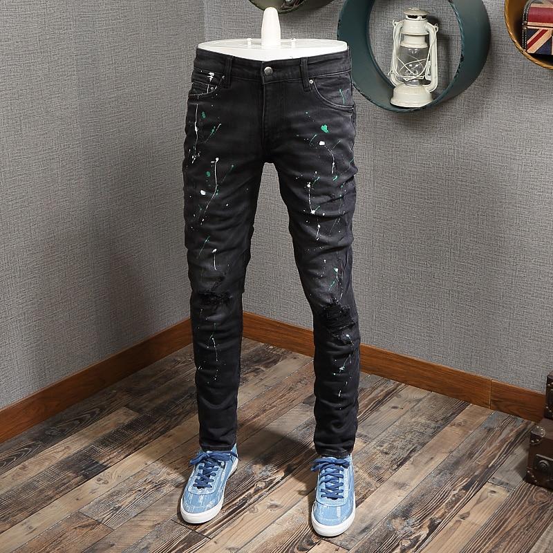 Модные мужские джинсы в американском уличном стиле, Черные Эластичные зауженные рваные джинсы, мужские дизайнерские брюки с рисунком в сти...