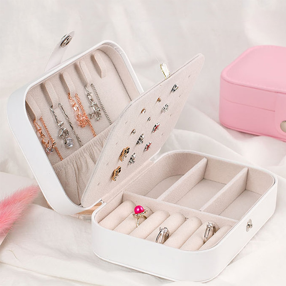Double-Layer Multifunction Jewelry Ornament Storage Box Portable Fresh PU Leather Packing Case Sorting Box for Women Gift double layer luxury storage watch box slots best gift for women makeup rose wood collect box vintage case family storage box