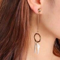 original fashion cold wind geometric metal long tassel earrings personality white leaf pearl hypoallergenic earrings woman