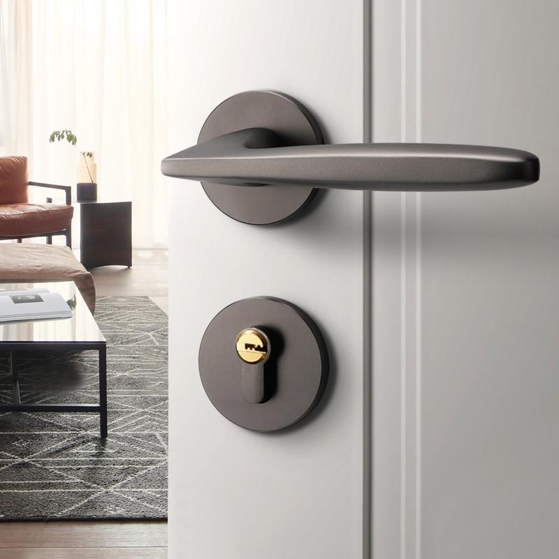 ما بعد الحداثة سبليت قفل الباب غرفة نوم غرفة قفل باب خشبي مجموعة العالمي المنزلية داخلي صامت المغناطيسي قفل الباب