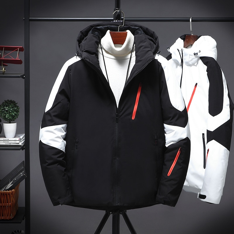 Winter Men Jacket Streetwear Thicken Warm Men's Hooded Casual Male Black White Patchwork Outerwear Student Coat