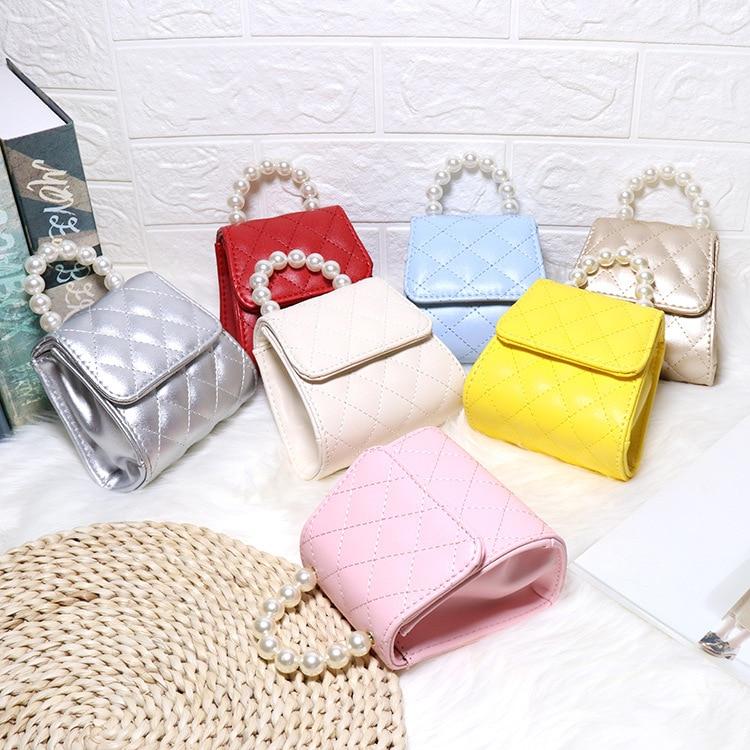 Kids Leather Handbags Tote Cute Princess Pearl Crossbody Bags Baby Girls Mini Hand Bags Shoulder Bag Gift