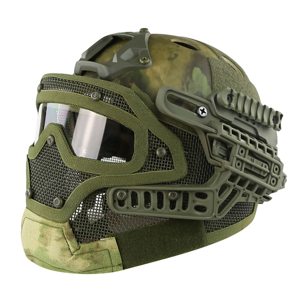FAST PJ Full Face Helmet With Protective Goggle Glasses Painball Shooting CS Head Protect Equipment Tactical Airsoft Helmet