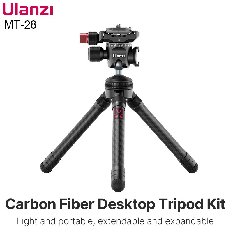 Ulanzi MT-28 قابلة للتمديد ألياف الكربون ترايبود DSLR الهاتف الذكي SLR كاميرا Vlog ترايبود بانورامية Ballhead ترايبود رئيس مع الحذاء البارد