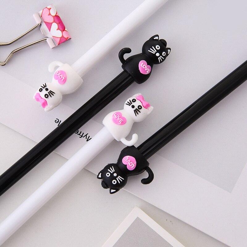 2 pcs/lot Cartoon Black Cat Gel Pen Cute Kawaii Plastic Pens for Writing Stationery Black Ink 0.5mm Office School Supplies 2019