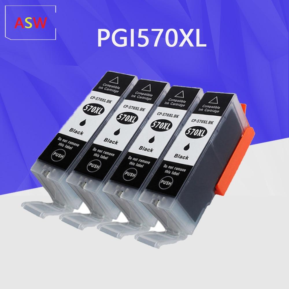 4PK Cartucho negro reemplazo para Canon PGI570 PGI-570 IGP 570 XL cartucho de tinta para MG7750 7751 6850 MG7752 impresora 7753