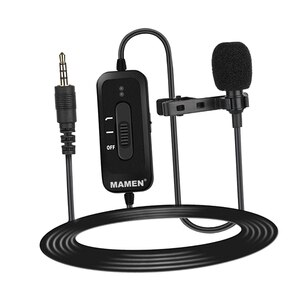 Lavalier Lapel Microphone Condenser Mic with 8M Cord Recording Interview