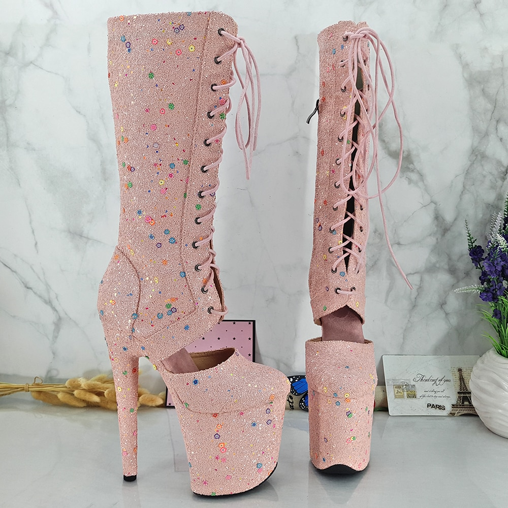 Leecabe Pink Glitter 20CM/8inches Pole dancing High Heel platform Boots closed toe Pole Dance boots