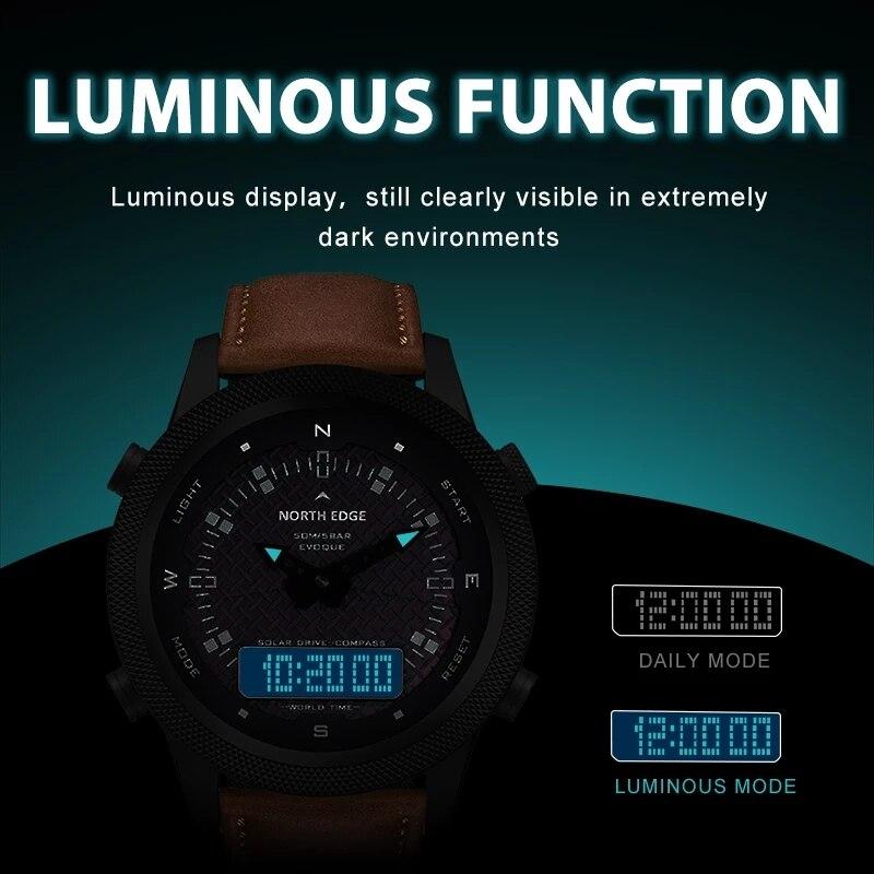 NORTH EDGE Men's Solar Watch Men's Outdoor Sports Watch Full Metal Waterproof 50M Compass Countdown Stopwatch Smart Watch enlarge