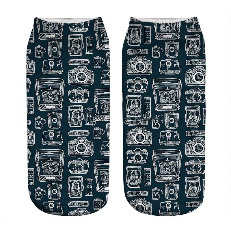 Women's socks kawaii History of the Camera Printed Socks Woman harajuku Happy Funny Novelty cute girl gift Socks for women