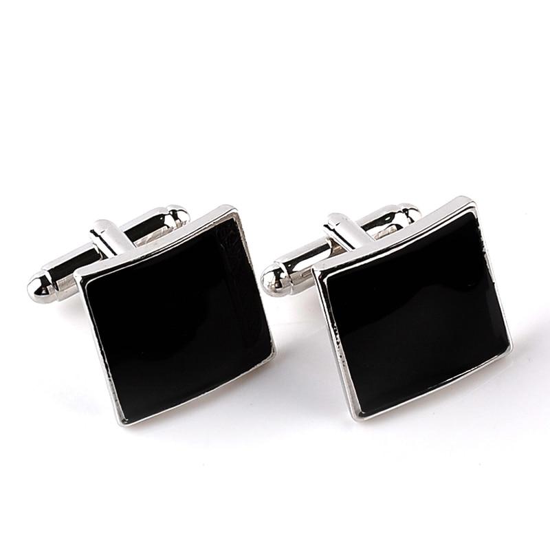 black enamel Cufflinks Men Classic square Cuff Button business France shirt Men's classic Cuff Links gift for boyfriend father