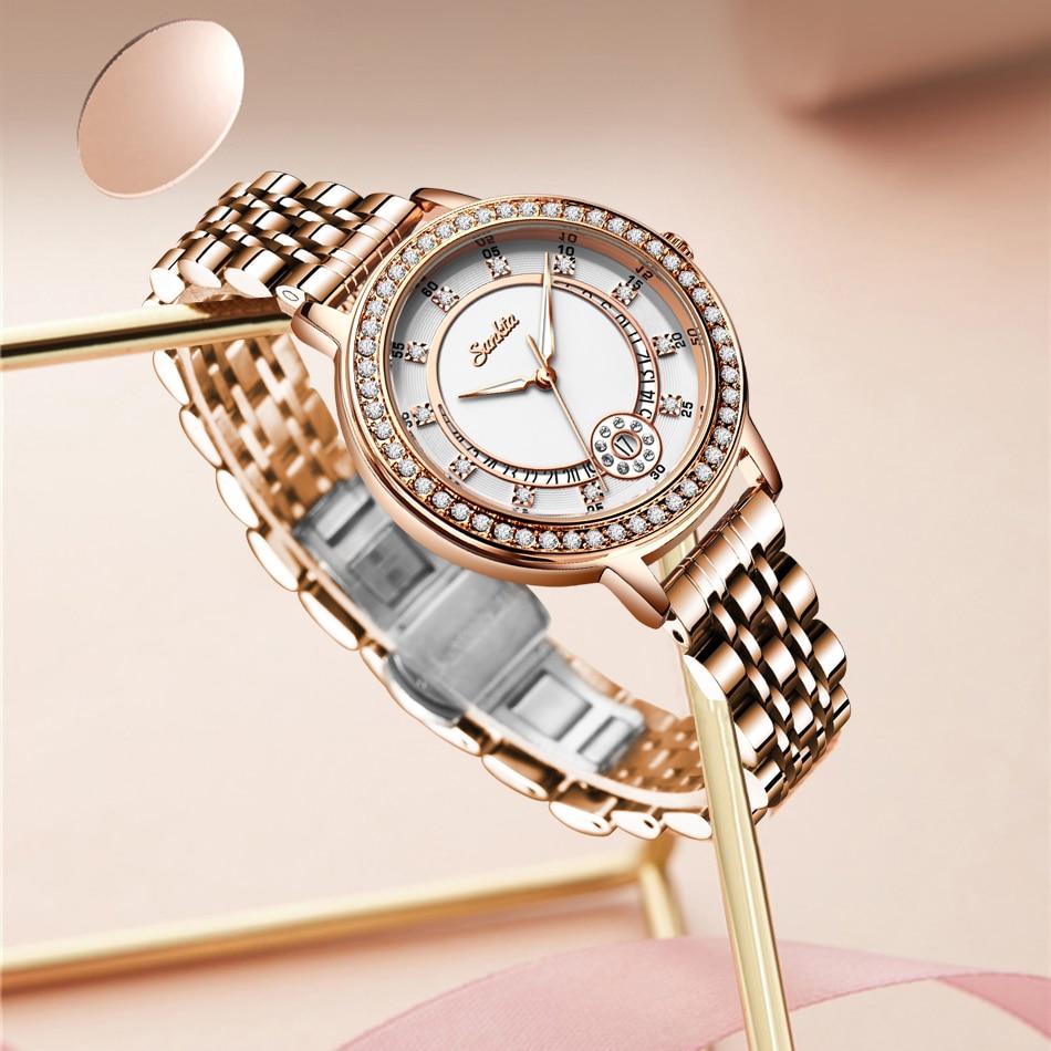 SUNKTA 2021 New Fashion Female Business Women Watches Full Steel Luxury Ladies Wristwatch TOP Brand Design Waterproof Watch+Box enlarge