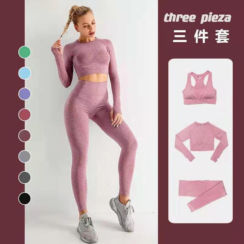 Conjunto de Yoga sin costuras para mujer, ropa deportiva para gimnasio, leggings de cintura alta, para correr o hacer ejercicio