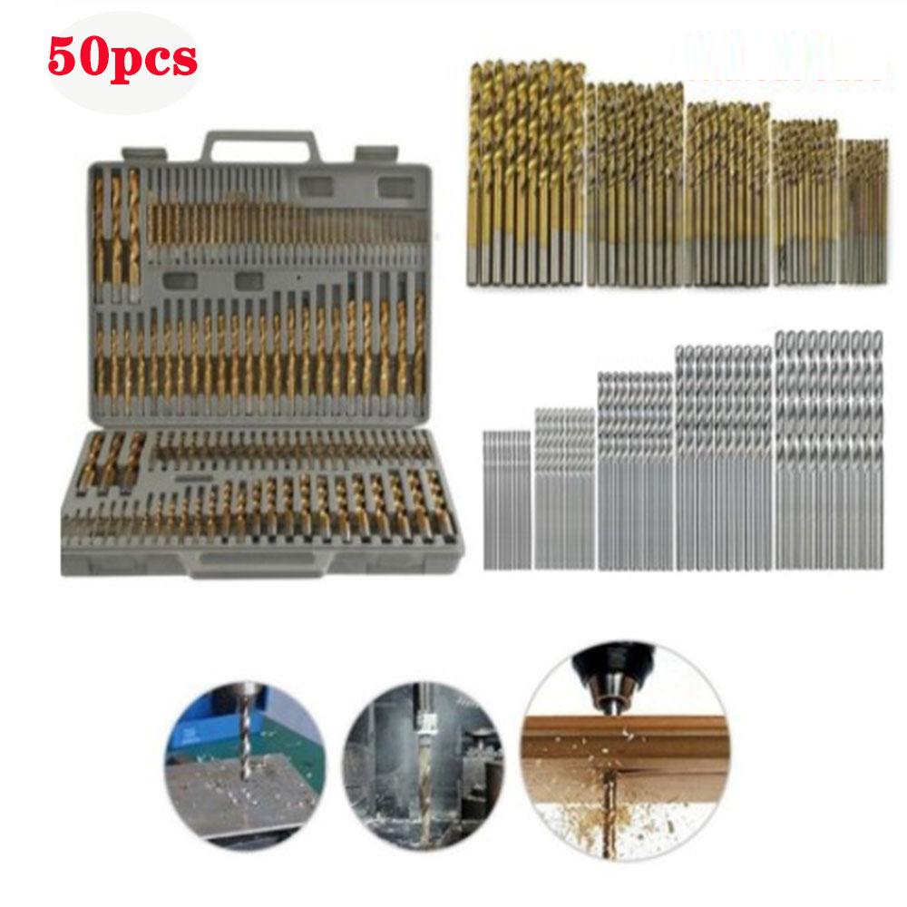 Muchos tipos de brocas helicoidales de acero de alta velocidad recubiertas de titanio, taladro de mano con broca de vástago recto