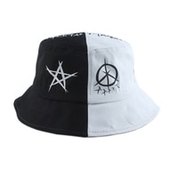 Панама в стиле Харадзюку для мужчин и женщин, уличная шапка рыбака, в стиле пэчворк, в стиле хип-хоп, черная белая